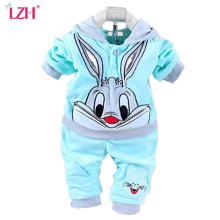 LZH Newborn Boys Clothes 2018 Spring Baby Girls Clothes Rabbit Hoodie+Pants Easter Outfits Baby Sport Suit Infant Clothing Set