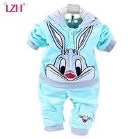 New Baby Suit 2015 Spring Autumn Baby Set Cartoon Rabbit Velvet Set Twinset Long Sleeve Set