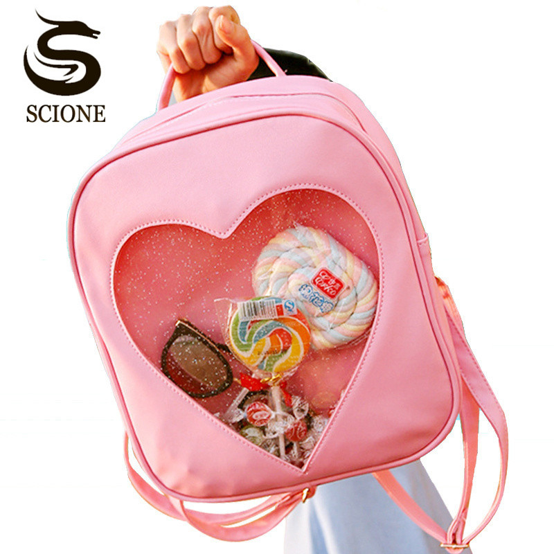Scione 2017 Cute Candy Transparent Love Heart Shape Backpacks Harajuku School Backpack Shoulder Bags for Teenager Girls Book Bag cute love heart hollow out bracelet watch for women