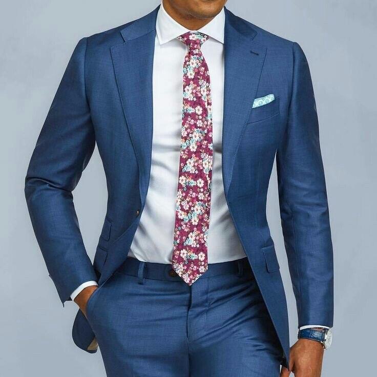 Azul Único Breasted Ternos Slim Fit Mens Ternos de Casamento Feito Sob Encomenda do baile de Finalistas 2 Peças de Negócios Ternos Smoking Formal Homens Calças Jaqueta ternos