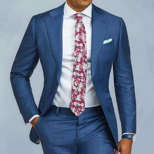 Blue Single Breasted Slim Fit Suits Mens Wedding Custom Prom Suits 2 Stuks Business Formele Tuxedo Suits Mannen Jas Broek ternos