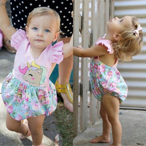 Toddler Baby Girls Unicorn   Romper   Jumpsuit Outfits Set Clothes Playsuit