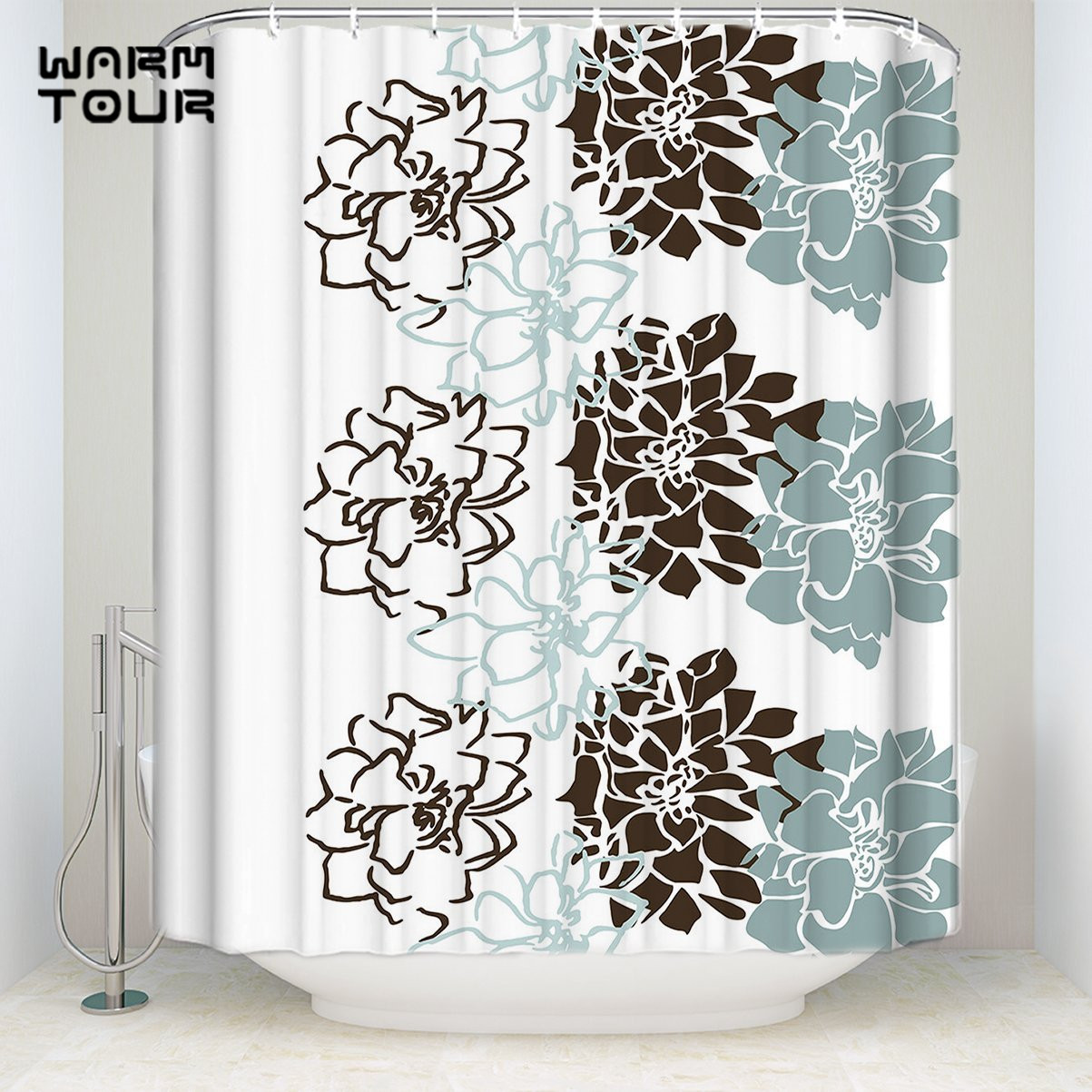 Bath Shower Curtains Geometric Flowers Blue Brown White Welcome