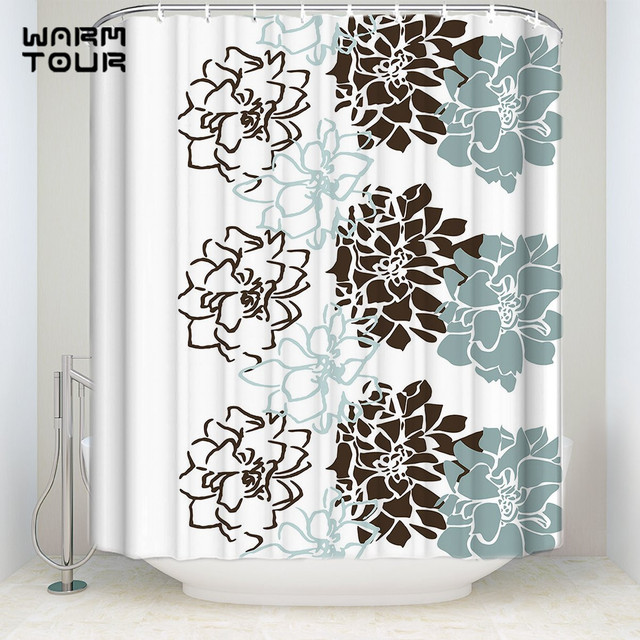 Bath Shower Curtains Geometric Flowers Blue Brown White Welcome Mildew Resistant Bathroom Decor Sets With Hooks
