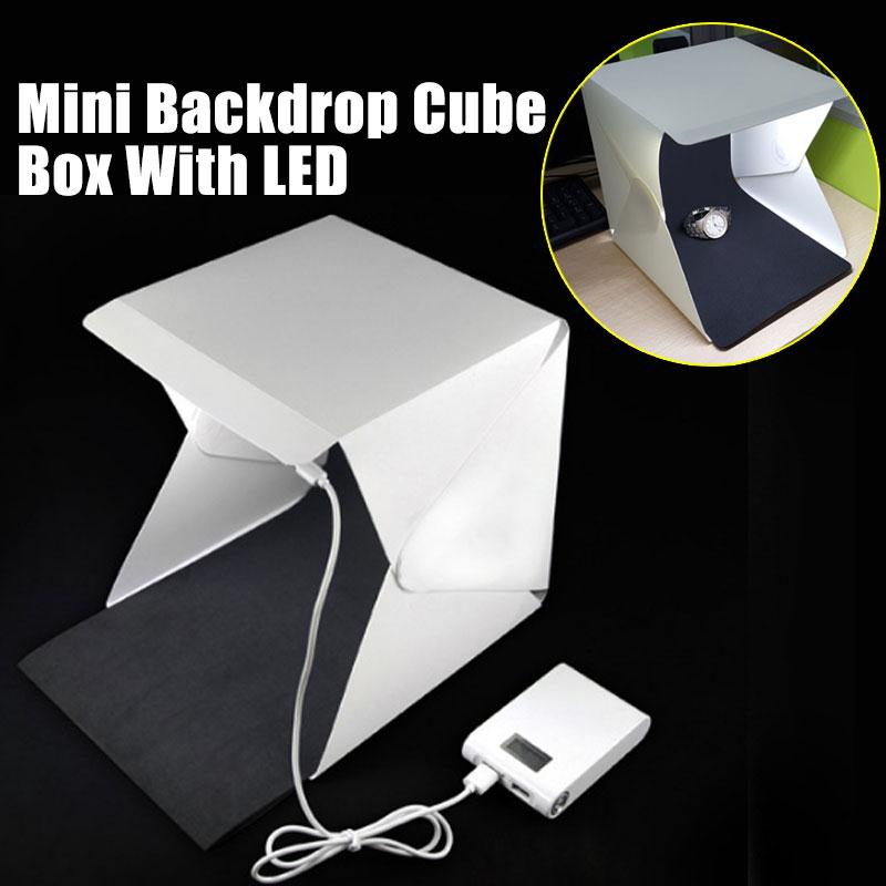 DOITOP Foldable Light Room Camera <font><b>Photo</b></font> <font><b>Studio</b></font> 9&#8243; Photography Lighting Tent Kit Mini Backdrop Box Light Softbox with <font><b>LED</b></font> Light