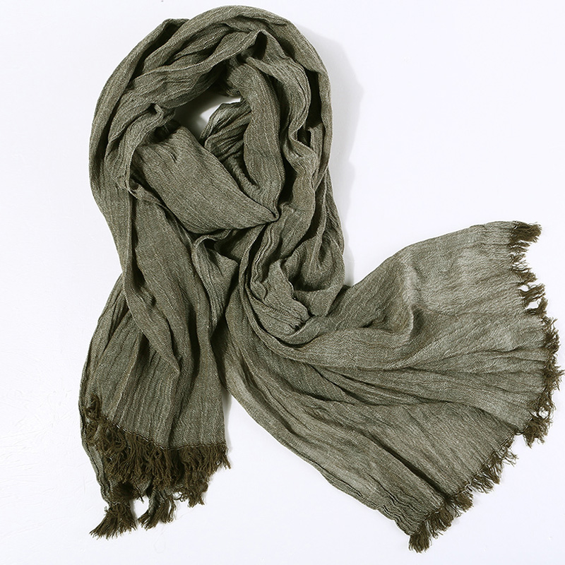 Image 2 - Fashion Classic Retro Scarf Cotton linen lady Men Autumn Multifunctional Soft warm long scarf Multicolor Tassel scarves 72*196cm-in Men's Scarves from Apparel Accessories