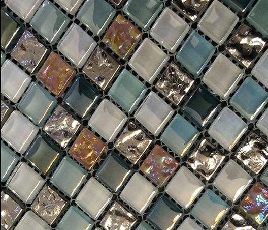 Express Schillern Blau Weiß gemischt Kristallglas mosaik fliesen für ...