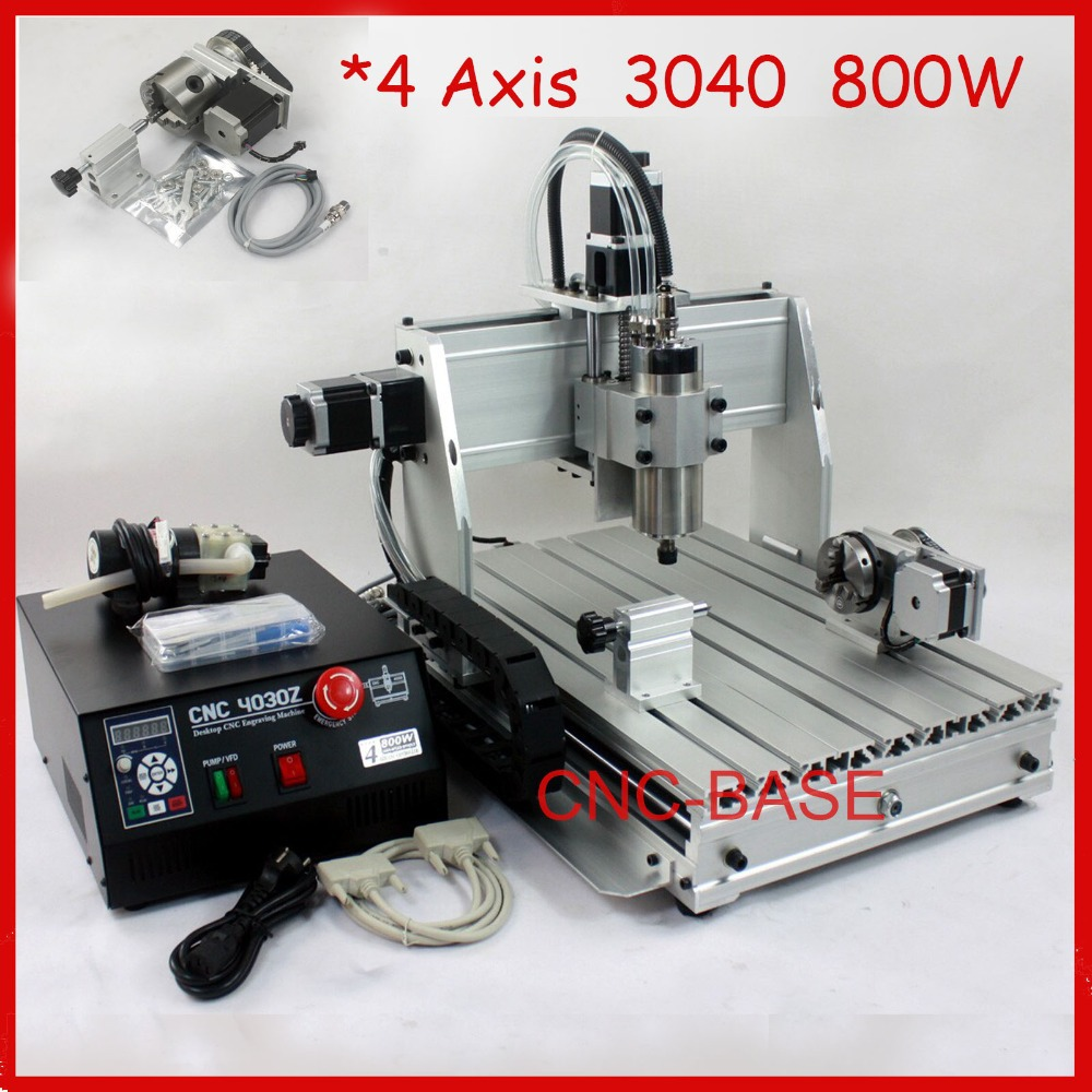 four axis ( rotary axis ) 4 axis 800W 3040 CNC router , wood carving router , mini cnc engraving machine , PCB milling machine free tax desktop cnc wood router 3040 engraving drilling and milling machine