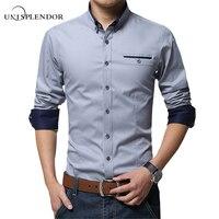 2017 Nieuwe Lente Katoenen Shirts Mannen Hoge Kwaliteit Lange Mouwen Slanke Fit Shirt Pure Kleur Moderne Casual Camisa Big Size 5XL YN270