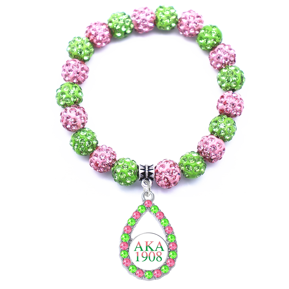 Double Nose Sorority Bracelets AKA 1908 Bangles Greek Sticker Inlaid Green Pink Crystal Sorority Alpha Beads