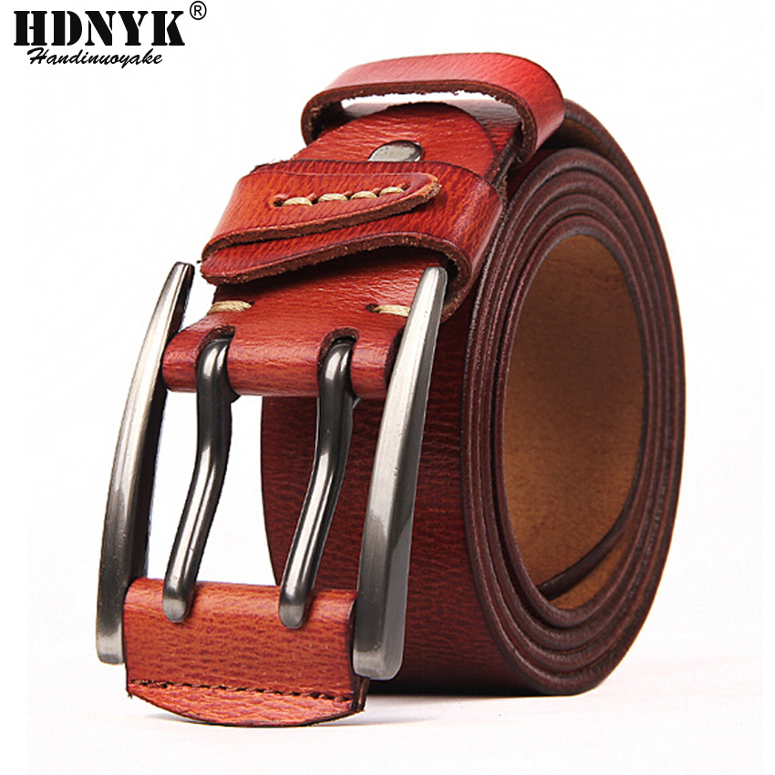 100% Cowhide Genuine Leather Belts For Men Brand Strap Male Pin Buckle Fancy Vintage Jeans Cowboy Cintos Free Shipping