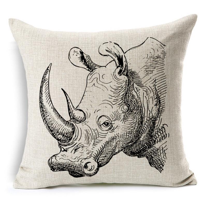 Deer Set Cushion Without Core Custom Cotton Linen Decorative Throw Pillows&Rhino&Animal Sofa Chair Cushions Home Deco 45*45cm