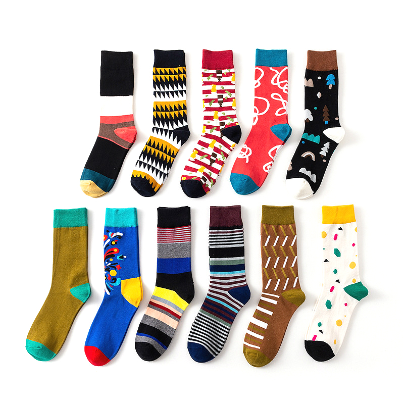 New men's fashion colorful fun stripes high quality cotton casual personality   socks   1 pairs
