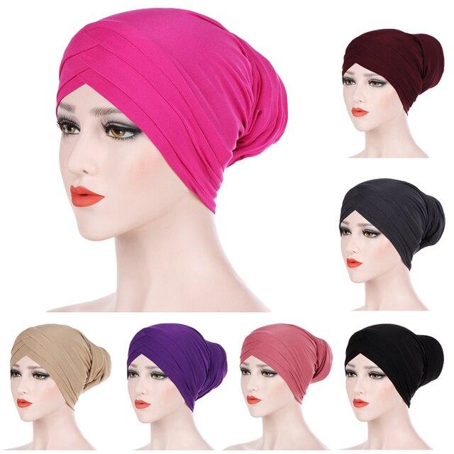 Hijabs musulmanes para mujer sombreros indio pañuelo largo de mujer sombrero hiyab interior turbante cabeza tapa bufanda del Hijab quimio sombreros de tapas Amira nuevo