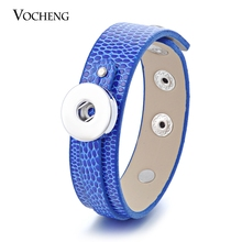Vocheng Snap Button Charms Bracelet 10 Colors PU Leather 18mm DIY Freestyle NN-3