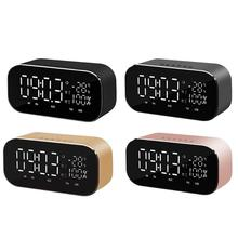 Wireless Bluetooth Speaker Support Temperature LCD Display FM Radio Alarm Clock Stereo Subwoofer Portable Music Player D2