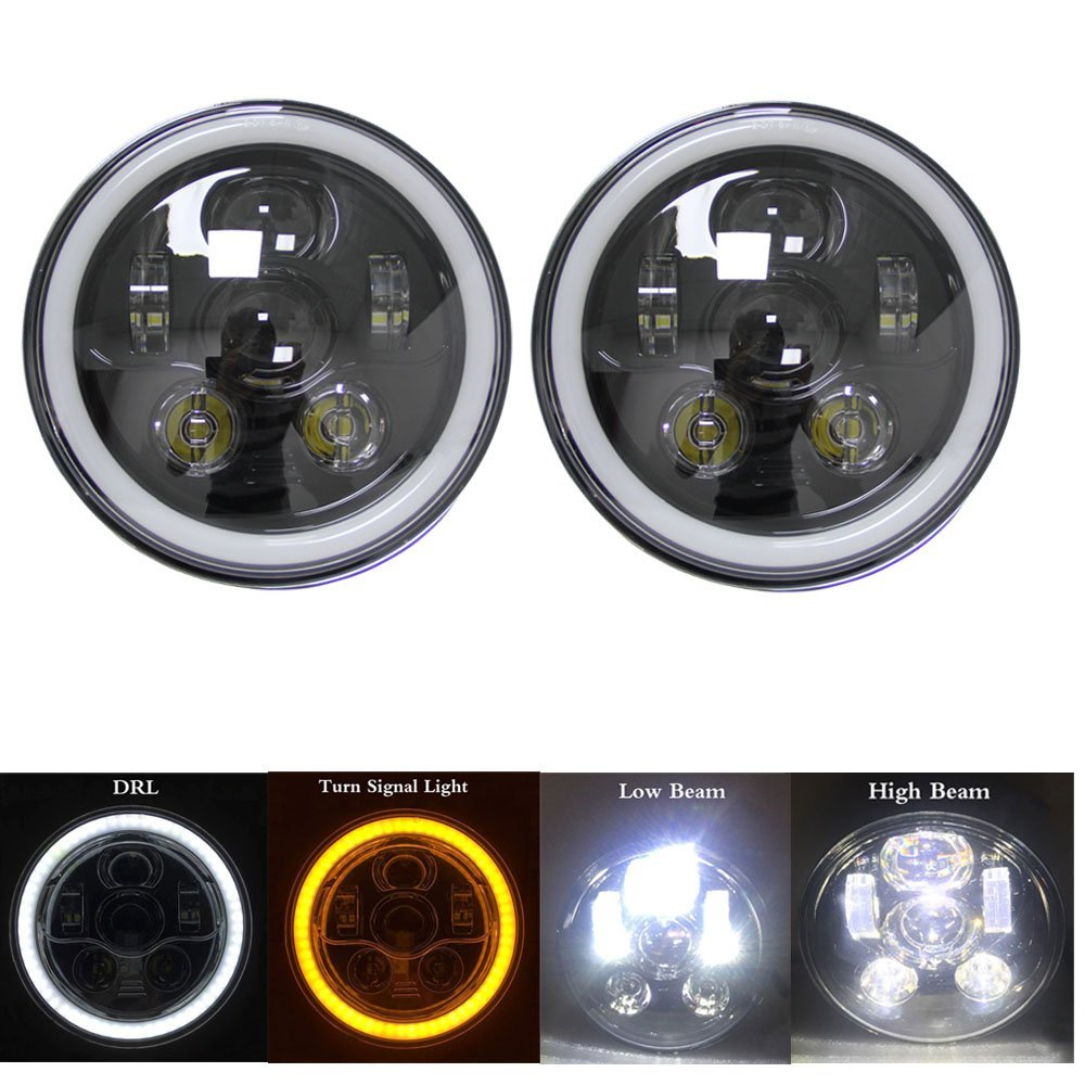 Newest 7 INCH LED Headlight Assemblies With White/Yellow Halo Angel eyes for Jeep Wrangler JK 2 Door Hummer Offroad headlamp demon eyes 12v 35w 7 inch cob halo hid xenon led headlight headlamp with demon eyes drl canbus ballast for jeeep wrangler 07 15