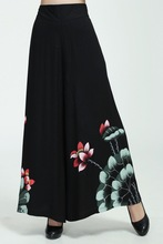 Free Shipping!Big Discount!Chinese Cotton Hand-Made Painted Women's Elastic Waist Trousers Flares Peony S-XXL WP0002