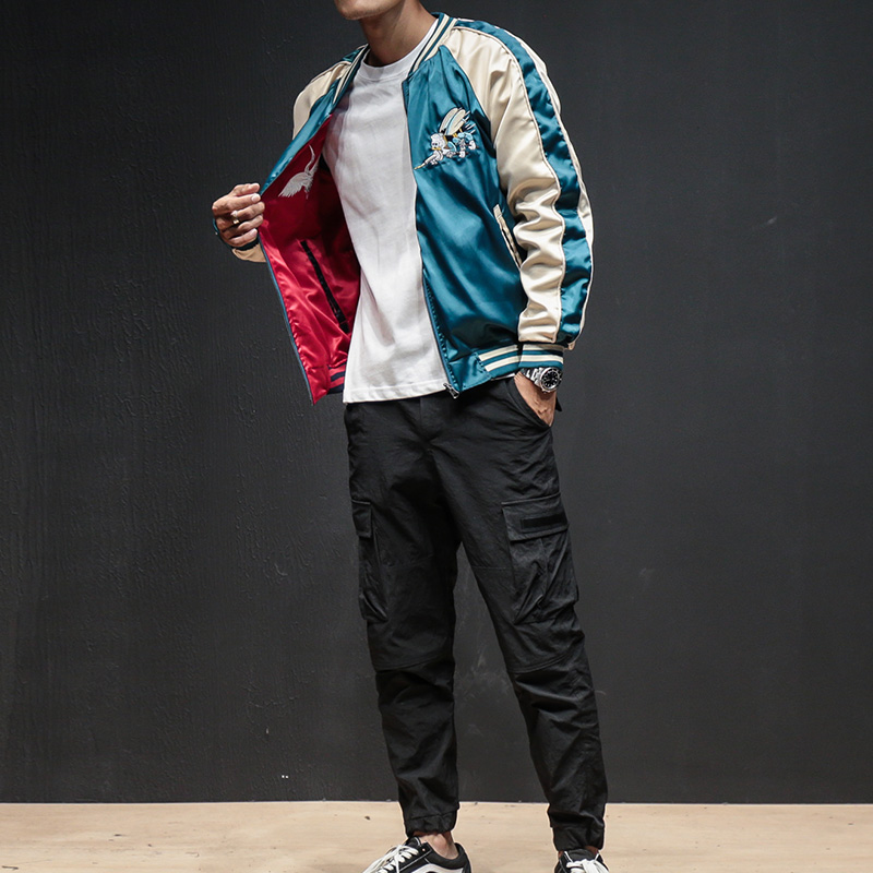 Two Sides Luxury Embroidery Bomber Jacket Smooth Men Sukajan Yokosuka Souvenir Jacket Streetwear Hip Hop Baseball Jacket