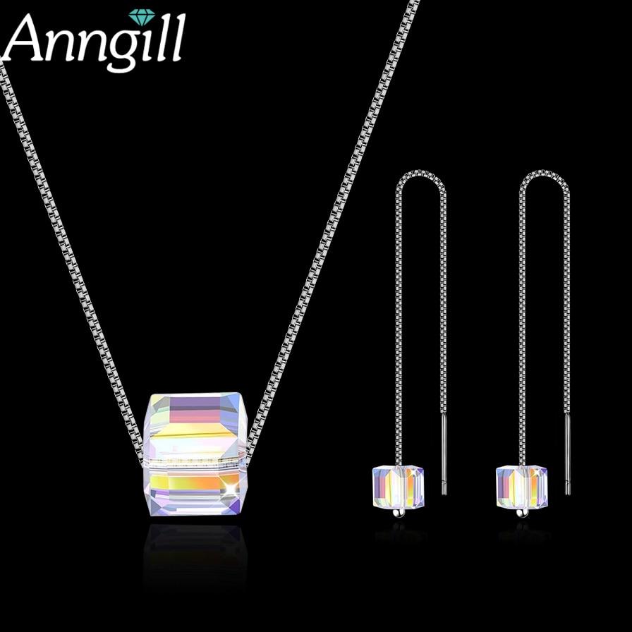 Anngill Kristall Von Swarovski Cube Schmuck Set Mode Hochzeit Halskette + Ohrringe Sets Für Frauen 925 Sterling Silber Schmuck