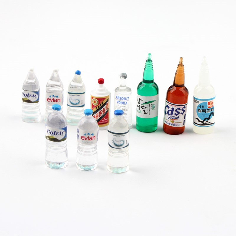 11pcs/lot Miniature Dollhouse 1:6 1:12 Mineral Water Bottle Drink Vodka Doll Pretend Food For Blyth Dollhouse Kitchen For Barbie