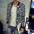 Новый 2017 мужская мода бутик печати тонкий вскользь куртки caots/качество Мужской стенд воротник тонкий вскользь куртка пальто