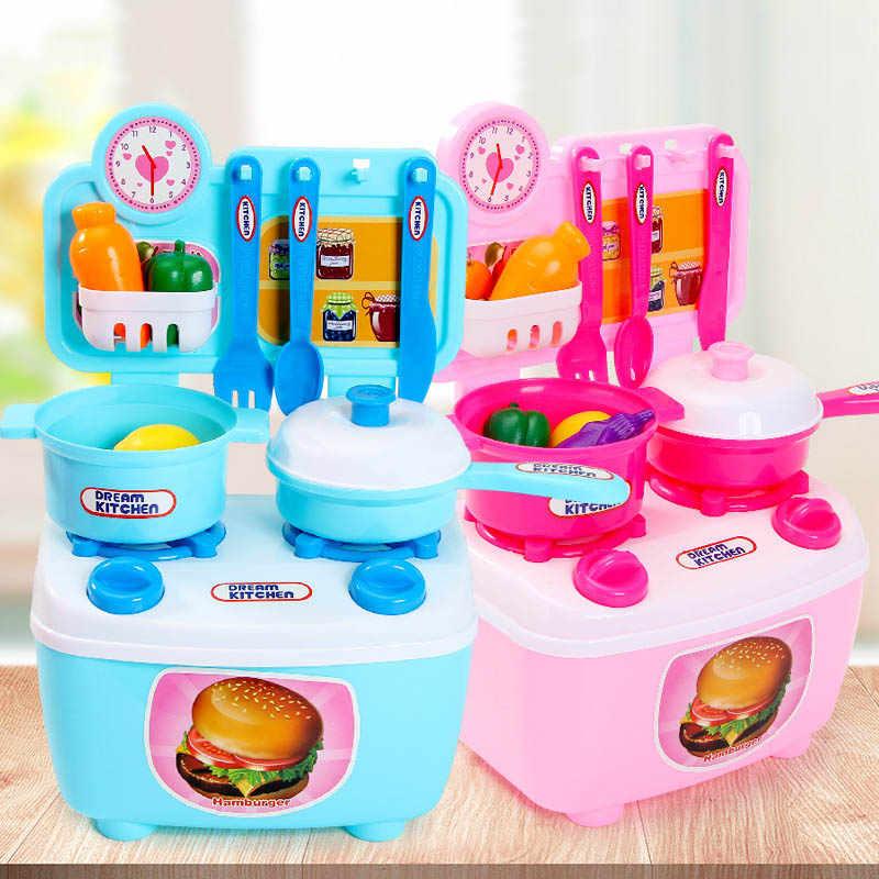 Juego de 9 Uds de Mini cocina de simulación bonito juguete para juego de imitación para niños verduras pala olla montar Juguetes Educativos