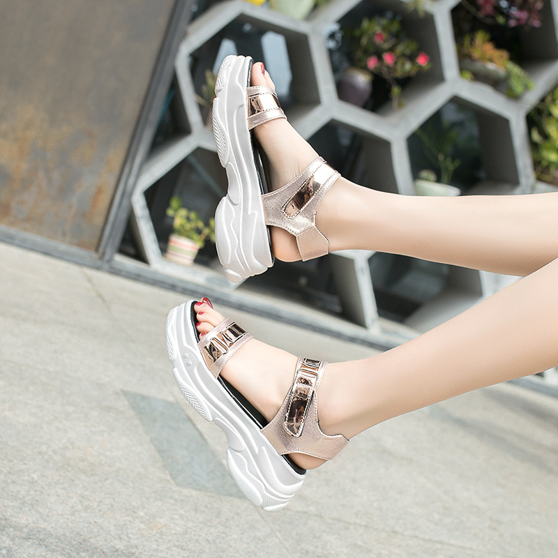 Fujin Summer Fashion Women Sandals Dropshipping PU Fish Mouth High Heel Platform Open Toes Female Sandals Shoes Lady Wedges in High Heels from Shoes