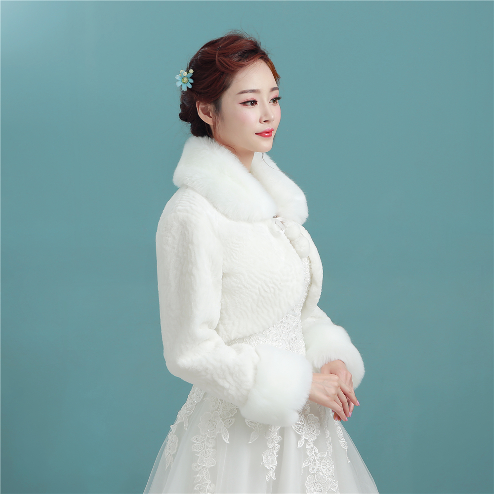 Free shipping long sleeve women winter wedding faux fur for Womens dress jacket wedding