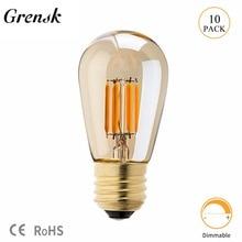 Grensk Led String Lights Bulb Amber Glass 3W Edison ST45 Pearl Globe Shape Super Warm 2200K E26 E27 Decorative Lighting Dimmable