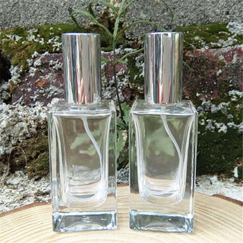 30ml Refillable Square Scent Bottle with Gold Silver Cap Clear Glass Perfume Bottle Fragrance Favor 10pcs/lot P150