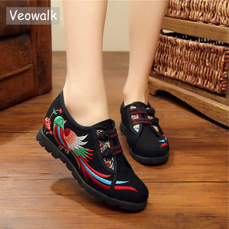 Veowalk Phonix Niết Bàn Thêu Nữ Vải Cotton Flat Khóa Vintage Nữ Vải Nền Tảng Zapatos Mujer