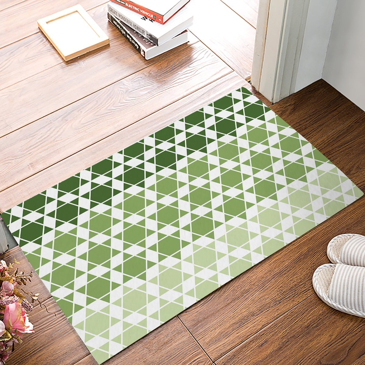 White Kitchen Floor Mats: Modern Green And White Hexagram Lattice Door Mats Kitchen