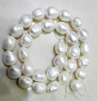 One Strands Real Pearl Bead 11 13mm Bright White Baroque Pearl Natural Freshwater Pearl Loose Beads
