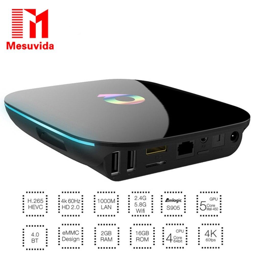 ФОТО Mesuvida Q Box TV Box Android TV BOX Amlogic S905 64bits 2GB/16GB Gigabit LAN WiFi Bluetooth H.265 KODI Full Loaded Smart TV Box