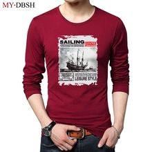 Hot Sale Men Long Sleeve T-shirts Clothes Autumn Young Fashion Sailboat Printing T Shirt Men Casual Cotton tshirts Male Camiseta(China)