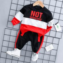 Dzieci Toddler chłopiec dziewczyna casual ubrania zestaw 2019 najnowszy wiosna dla Toddler list długi rękaw koszulka + spodnie strój 1 2 3 4 lat tanie tanio Sets No 12528 Literę Regularne Unisex O-Neck Sweter Kabeier Pełne Płaszcz Spandex bawełna Pasuje do rozmiaru Weź swój normalny rozmiar