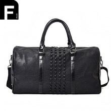 Fashion Men's Travel Bags PU Leather Women Luggage Bag Waterproof Weekend Duffel Handbag Large Capacity Rivet Travel Leather Bag