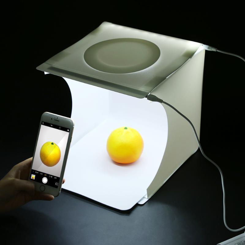 23x22x24 cm Portable Mini Pliable Photo Studio Softbox Lumière Boîte De Chambre De Table Tir Tente Construit Dans LED Lumière Soft Box