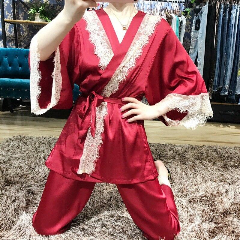 Ladies Pajamas Set Comfortable Womens Satin Pajamas Sets Silk Pajamas Robe Sexy Lace Sleepwear Emulation Silk Nightwear 3pcs Set