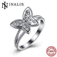 INALIS Butterfly Fashion Cocktail Rings for Womens Gift High Quality 925 Sterling Silver Jewelry Clear CZ Stone Fancy Mid Rings