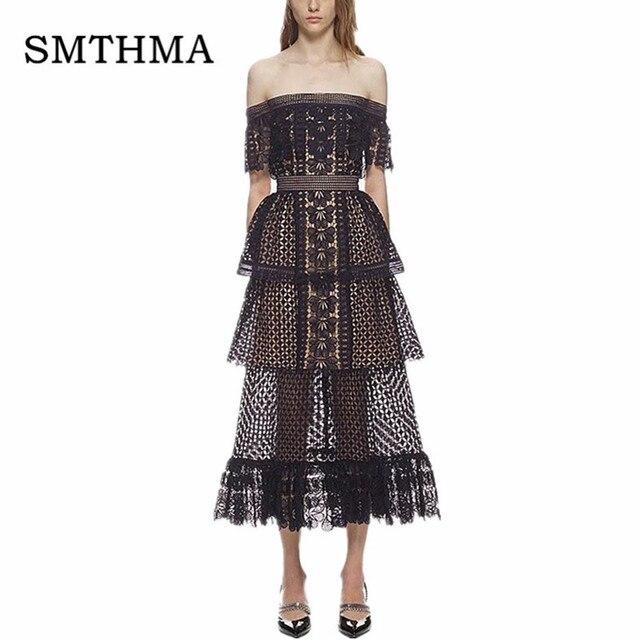 e40d86db69196 US $32.99 25% OFF|High Quality Runway Dress 2019 New Women Self Portrait  Dress Slash Neck Off the shoulder Black Frill Cake Long Lace Dress-in  Dresses ...