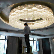 Luxury Hotel Lobby Hall Crystal Ceiling Lamp Large Hotel Project Light Round Crystal lighting fixture led lamps home ceiling led(China)