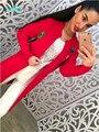 Ruso famoso TaoVK moda 2016 mujeres Otoño/chaquetas de Invierno nuevo estilo de Color Rojo Gris y azul Marino larga sección suéter cardigan