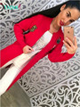 Russian famous TaoVK fashion 2016 women Autumn/Winter cardigans new style Red Gray & Navy blue long section sweater cardigan