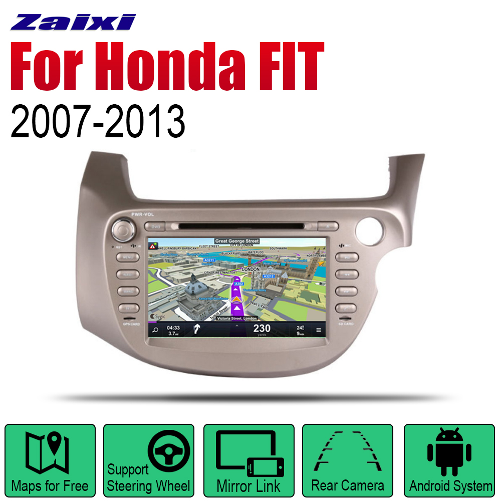 Auto Radio <font><b>Android</b></font> Car DVD Player For <font><b>Honda</b></font> <font><b>FIT</b></font> JAZZ 2007 2008 <font><b>2009</b></font> 2010 2011 2012 2013 GPS Navigation BT Map system Stereo RHD image