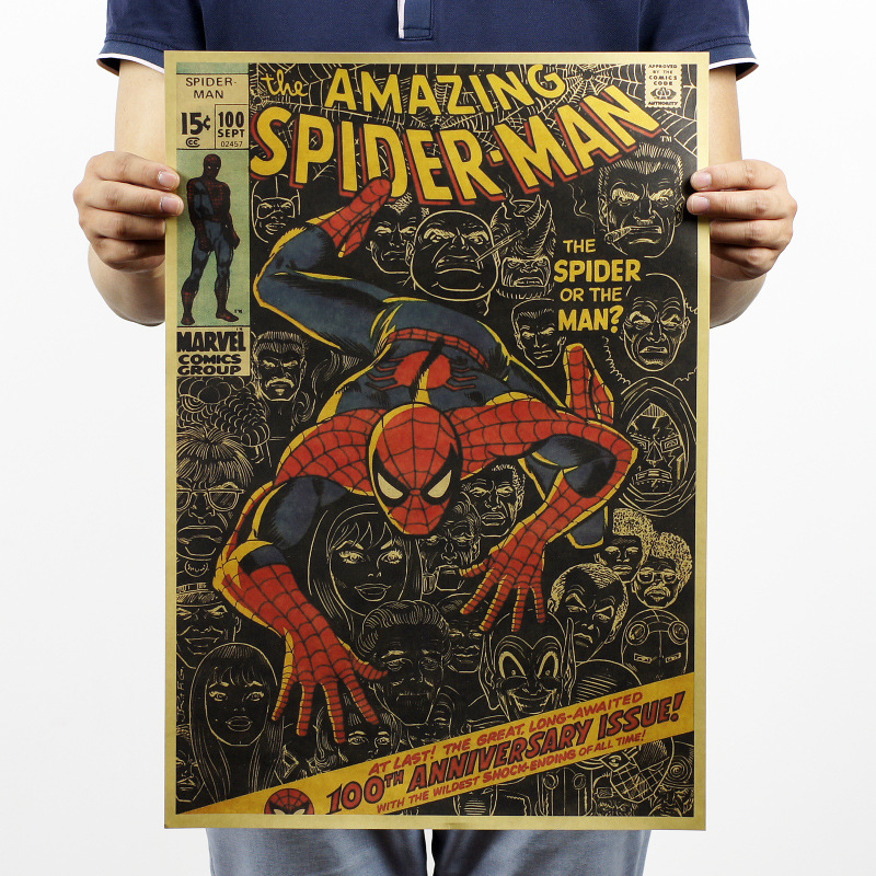 Spider-Man / Classic Cartoon / Retro Kraft Paper Poster / Vintage Decorative Bar Painting 51x35.5cm