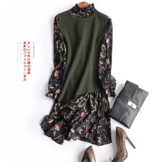 Two-piece Suit Spring European O-Neck Irregular Solid Knitting Vest And Floral Print Lantern Sleeve Knee-Length Sets Women 3267