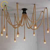 Vintage Hemp Rope Ceiling Lamps Antique Classic Adjustable DIY Spider Lights Ceiling Retro Edison Bulb Ceiling Lights for home