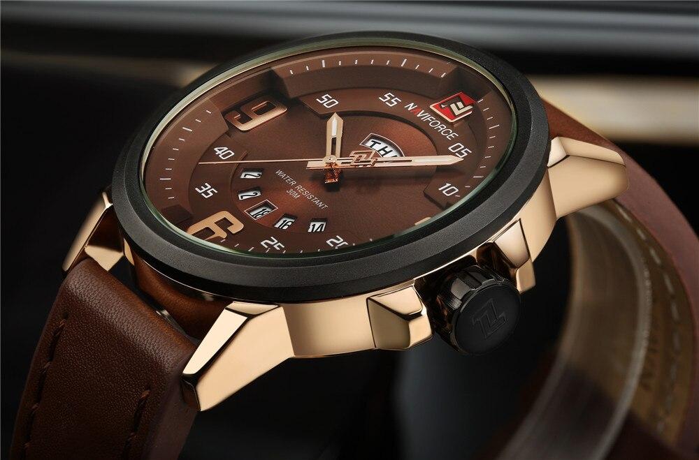 ec4f946e911 NAVIFORCE Marca de Luxo Data Japão Movt Praça Men Quartz Relógio ...